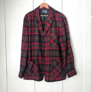 PENDLETON Virgin Wool Red Plaid Chore Coat Blazer